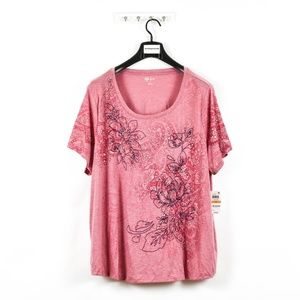 Style & Co Plus Size Crew Neck Graphic T-Shirt Top